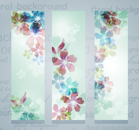 Transparent  floral banners set