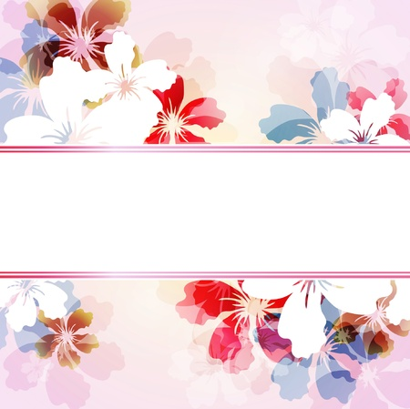 colorful background with transparent flowers