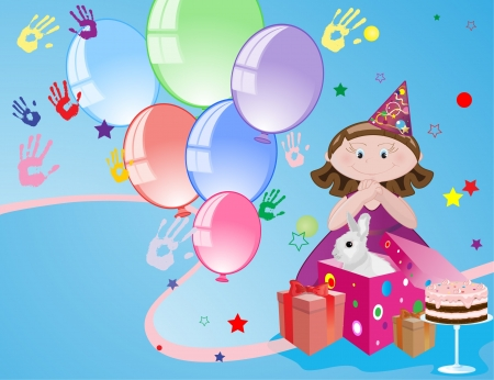 Girl with balloons and cake, birthday congratulations