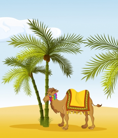 camel in the shadow of palm trees