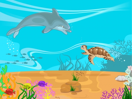 illustration of the seabed and its inhabitants  Vector