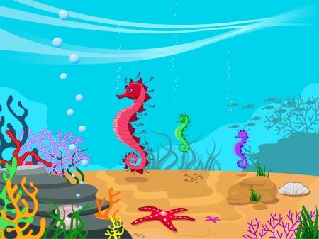 fondali marini: illustrazione degli abitanti dei fondali marini e la sua