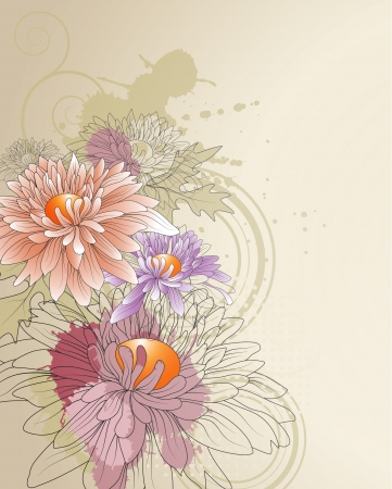 floral background with chrysanthemums
