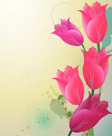 Decorative background with tulips Vector