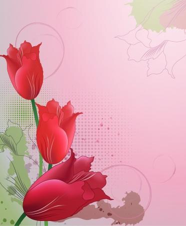 튤립 장식 배경 스톡 콘텐츠 - 14180973