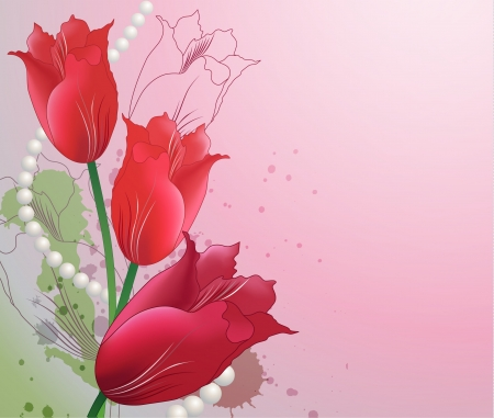 Decorative background with tulips