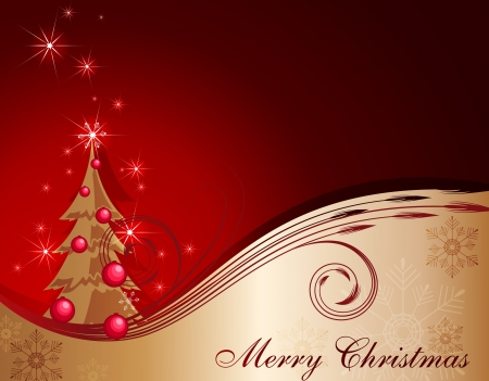 merrily: Red-Gold christmas background