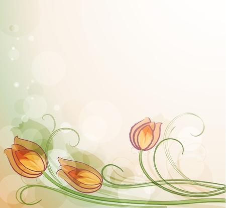 windy day: Delicate tulip