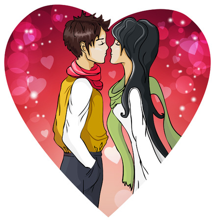 Kissing couple of young people Vector