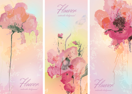 Set of three banners with watercolor flowers