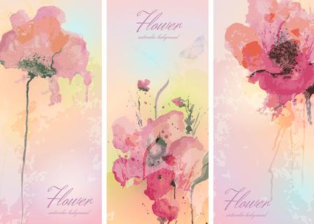 수채화 꽃으로 세 배너의 집합