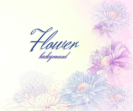 Floral background with chrysanthemums and transparent elements Vector