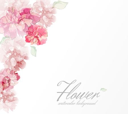 bordes decorativos: Flores de la acuarela peonías con elementos transparentes. Vectores