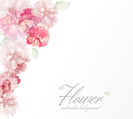 decorative: Watercolor flowers peonies with transparent elements.