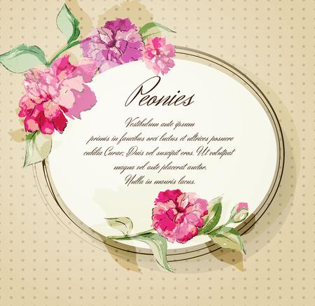 투명 요소와 수채화 꽃 모란. 일러스트