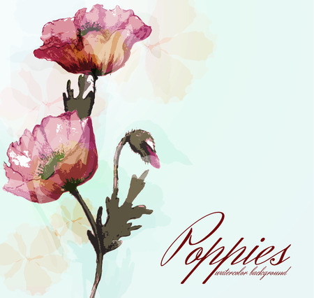 transparently: Watercolor card with poppies
