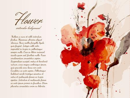 꽃 수채화 배경 일러스트