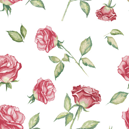 수채화 장미와 원활한 꽃 배경 일러스트