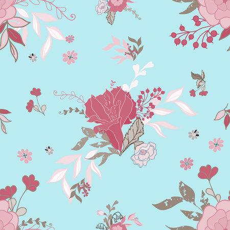 꽃과 원활한 패턴 일러스트