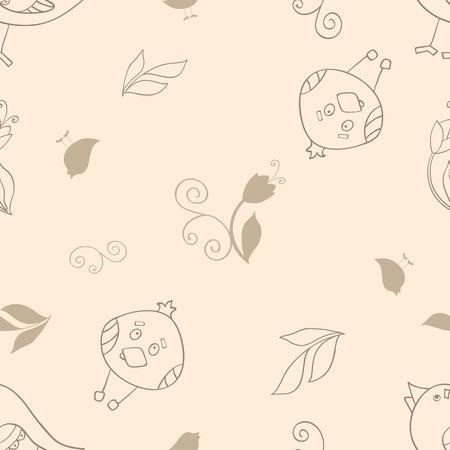 조류와 원활한 패턴 일러스트