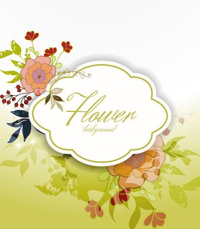 피는 꽃 인사말 카드. 일러스트