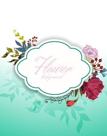 Greeting Card with Blooming Flowers.