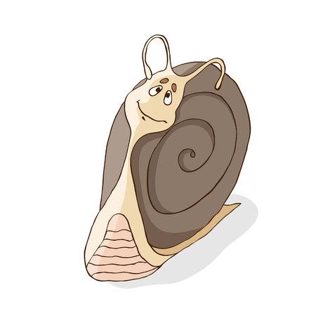 흰 배경에 고립 달팽이 일러스트