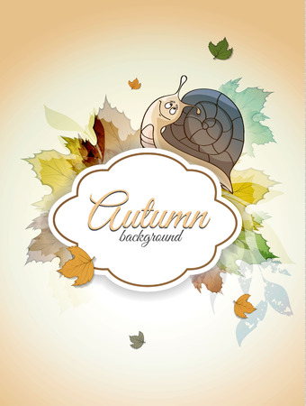 Autumn background with snail