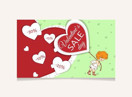 판매 헤더 또는 배너 해피 발렌타인 데이 축하에 대 한 할인 제공을 설정합니다.