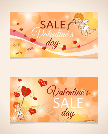 Sale header or banner set with discount offer for Happy Valentine's Day celebration. Illusztráció