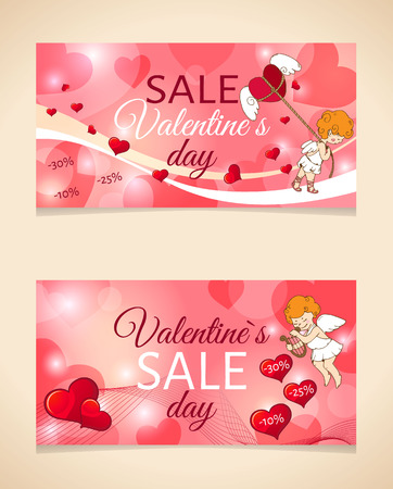 Sale header or banner set with discount offer for Happy Valentines Day celebration.