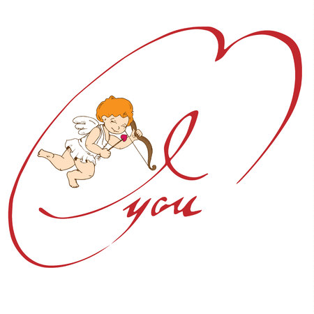 Funny little cupid. Illustration of a Valentine's Day. Vector. Isolated on white background