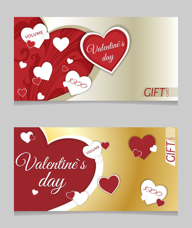 Sale header or banner set with discount offer for Happy Valentine's Day celebration. 일러스트