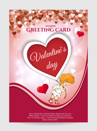 Valentine's day Greeting card template Invitation with hearts. Vector illustration