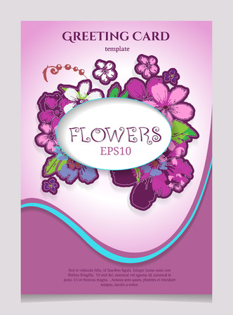 Greeting Card with Blooming Flowers. With Place for Your Text. Vector Illustration