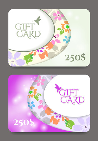 Gift certificate template with floral pattern.Vector illustration. Illustration