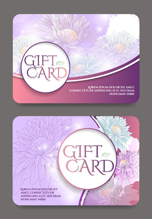 Gift certificate template with floral pattern.Vector illustration. 일러스트