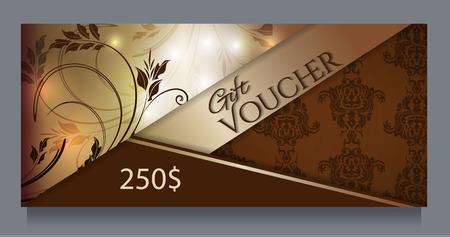 Golden gift certificate, template.Vector illustration. Illustration
