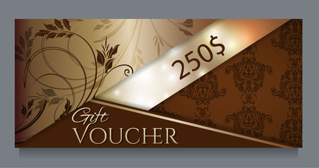 Golden gift certificate, template.Vector illustration. Illusztráció