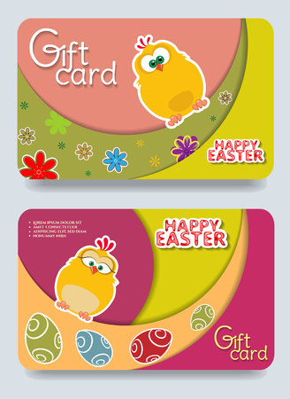 Gift Easter certificate template with Chicken .Vector illustration.