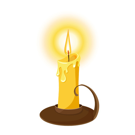 Vector illustration of a burning candle. Isolated on white background.