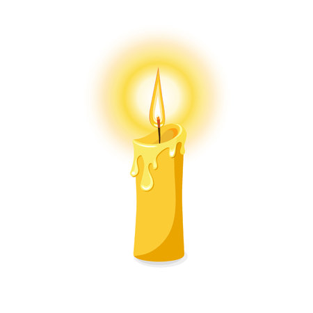 Vector illustration of a burning candle. Isolated on white background. Reklamní fotografie - 82091525