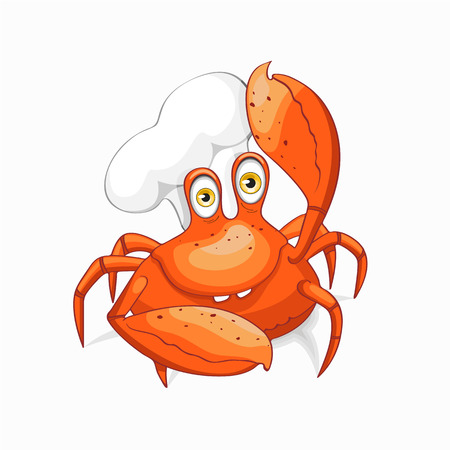 Fun crab chef in cook cap. Isolated on white background.