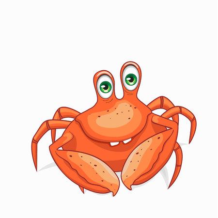 Fun crab. Isolated on white background. Illustration