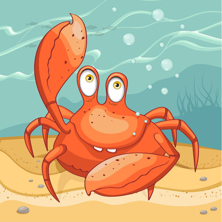 Funny crab on the seabed. Vector illustration. 일러스트