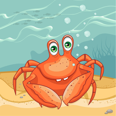 Funny crab on the seabed. Vector illustration. Illustration