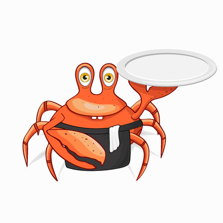 Fun crab chef. Isolated on white background.
