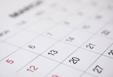 Calendar page with selective focus Stock Photo
