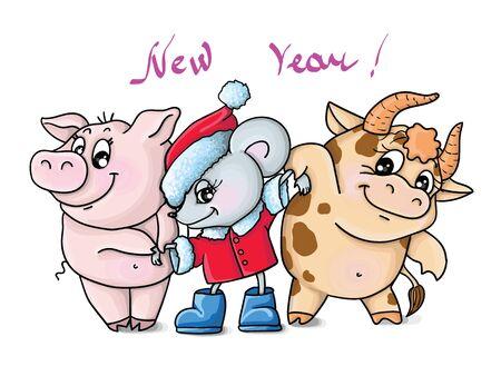 new year card, oriental horoscope, mous, bull, boar