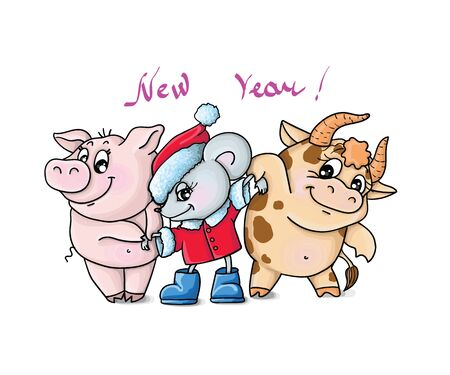 vector illustrations new year wild boar,bull,rat, zodiac